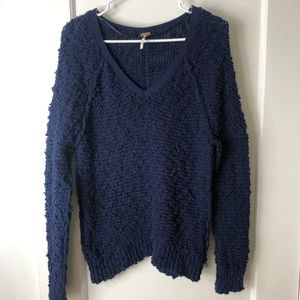 Free People Navy Textured Sweater